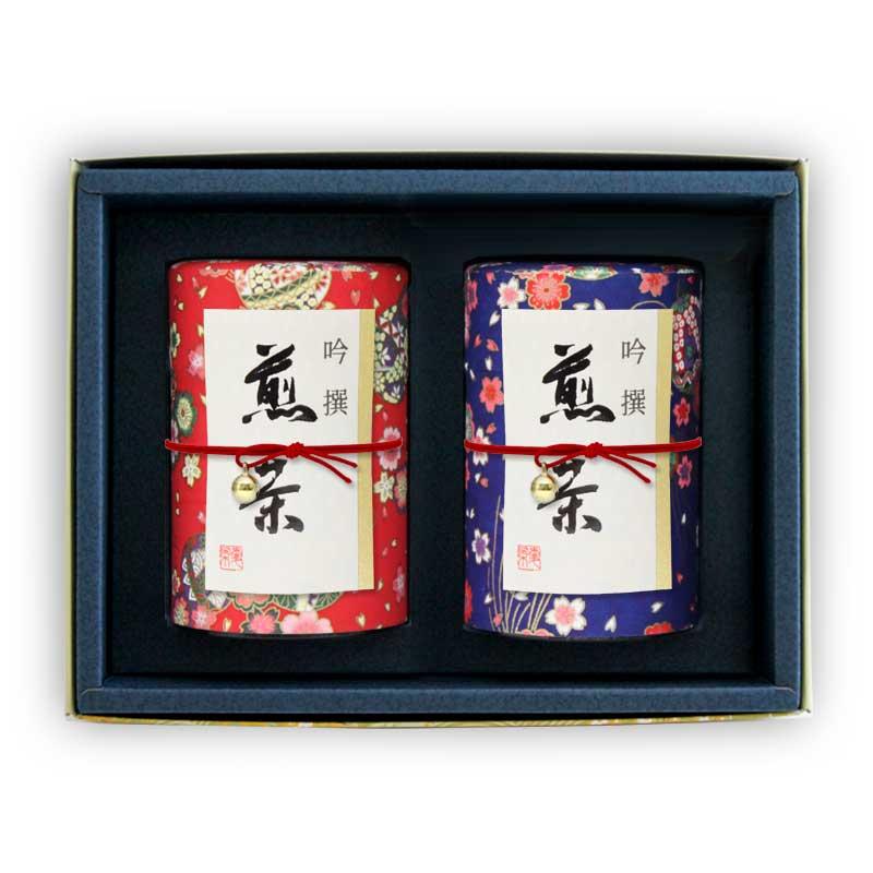 和染め缶友禅2缶セット(特上八女茶、特上知覧茶)