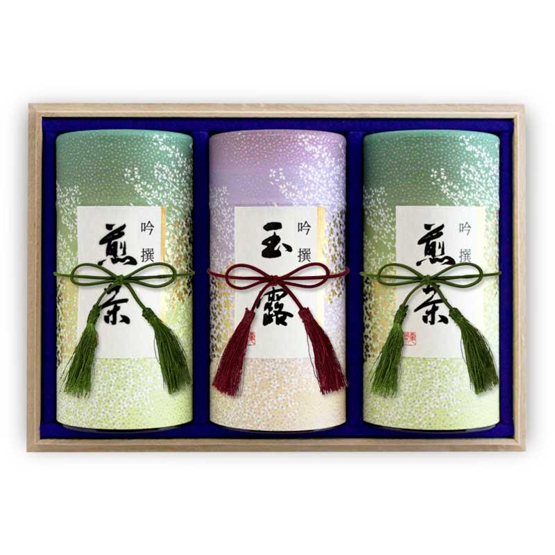 和染め缶3缶木箱セット(特上八女茶、特上知覧茶、熱湯玉露)